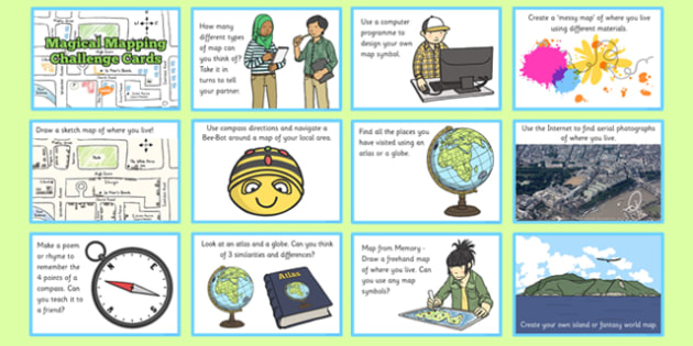 Magical Mapping Challenge Cards - magical mapping, challenge cards, geography, atlas, ks1, key stage 1, one