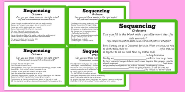 Guided Reading Skills Task Cards Sequencing Romanian Translation - romanian
