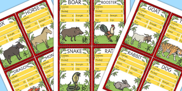 Chinese New Year Zodiac Animals Card Game - top trumps, animals