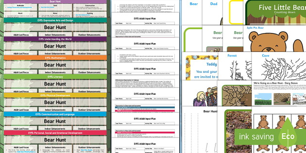 EYFS Lesson Plan Enhancement Ideas and Resources Pack to Support Teaching on Bear Hunt - Early Years, continuous provision, early years planning, adult led, We're Going on a Bear Hunt, Michael Rosen, Helen Oxenbury, bears, animals