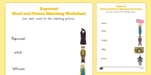 Rapunzel Word and Picture Match - australia, rapunzel, word, picture, match