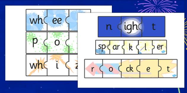 Bonfire Night Firework Words Jigsaws - bonfire night, jigsaw