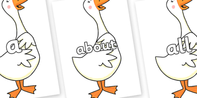 100 High Frequency Words on Hullabaloo Goose to Support Teaching on Farmyard Hullabaloo - High frequency words, hfw, DfES Letters and Sounds, Letters and Sounds, display words