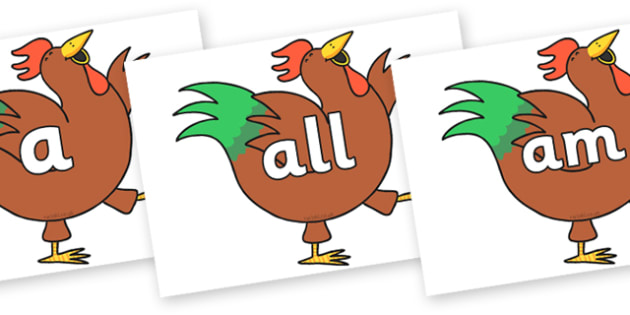 Foundation Stage 2 Keywords on Hullabaloo Rooster to Support Teaching on Farmyard Hullabaloo - FS2, CLL, keywords, Communication language and literacy,  Display, Key words, high frequency words, foundation stage literacy, DfES Letters and Sounds, Let