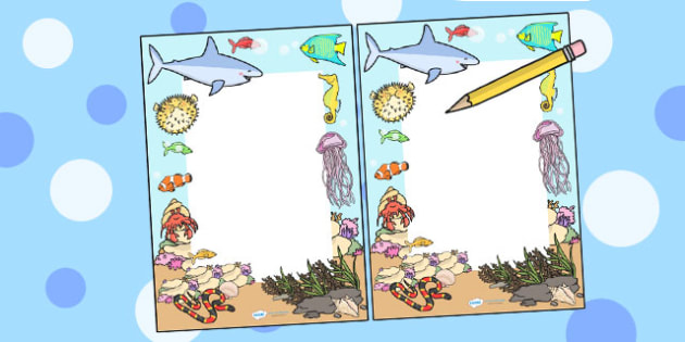 Under the Sea Editable Notes - teacher notes, praise notes, sea
