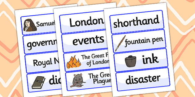 Samuel Pepys Word Cards - Samuel Pepys, word cards, topic cards, themed word cards, themed topic cards, key words, key word cards, keyword, writing aid