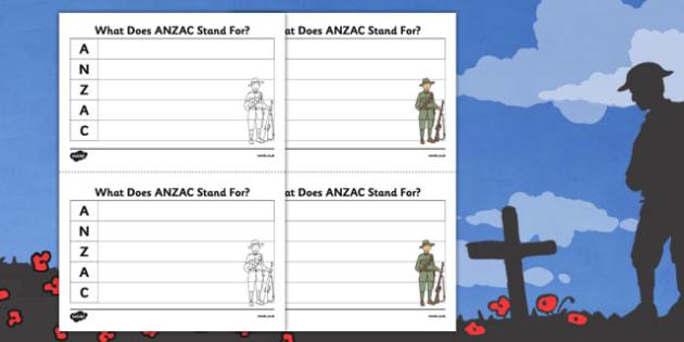 Anzac Acronym Writing Activity Sheet - nz, new zealand, anzac, acronym, writing, activity, sheet, worksheet