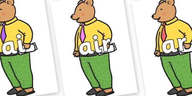 Phase 3 Phonemes on Mr Bear to Support Teaching on The Jolly Christmas Postman - Phonemes, phoneme, Phase 3, Phase three, Foundation, Literacy, Letters and Sounds, DfES, display