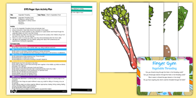 EYFS Threading Vegetables Finger Gym Plan and Resource Pack