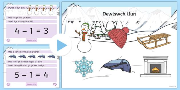 Pŵerbwynt Gweithgareddau Tynnu Y Gaeaf - Y Gaeaf (Winter), Gaeaf, Arddangosfeydd, Tymhorau, Cyfnod Sylfaen. mathemateg, tynnu, Cymraeg,Welsh