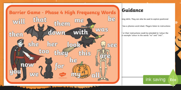 Halloween Themed Phase 4 Words Barrier Game Activity Sheet