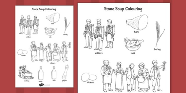 Stone Soup Words Colouring Sheet - stone soup, colouring, sheet