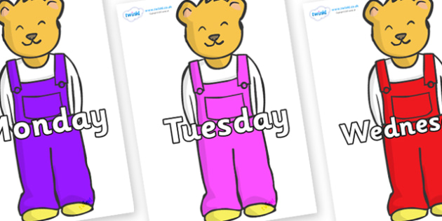 Days of the Week on Bears to Support Teaching on Whatever Next! - Days of the Week, Weeks poster, week, display, poster, frieze, Days, Day, Monday, Tuesday, Wednesday, Thursday, Friday, Saturday, Sunday
