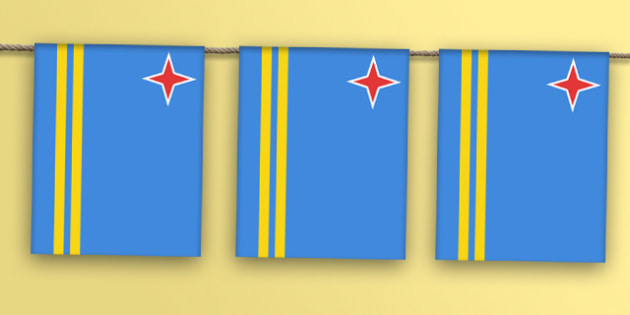 Aruba Flag Bunting - dutch, caribbean, venezuela, south america, south american, flags, countries, world, olympics, rio, 2016, events