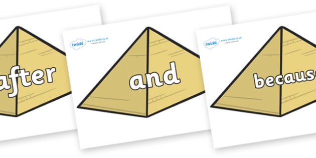 Connectives on Pyramids - Connectives, VCOP, connective resources, connectives display words, connective displays