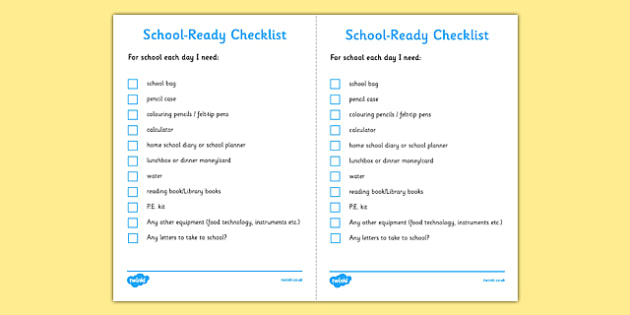 School Ready Checklist Secondary - school, ready, checklist, secondary