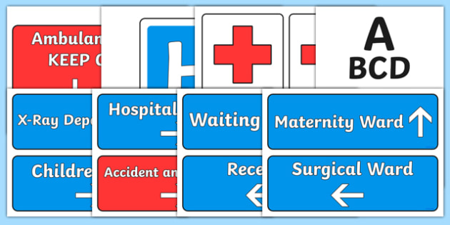 Hospital Display Signs - Hospital Role Play, hospital resources, people who help us, nurser, doctor, hospital, ward, bandages, role play, display, poster