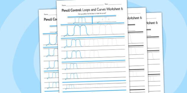Pencil Control Loops And Curves Worksheet 6 - pencil control