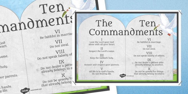 Ten Commandments Stone Tablet Display Poster - RE, Jesus, Bible, Moses