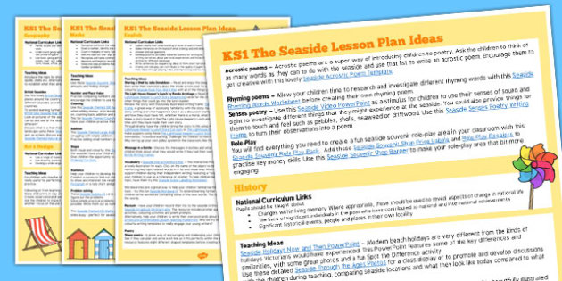 KS1 The Seaside Lesson Plan Ideas - ks1, seaside, lesson plan, ideas