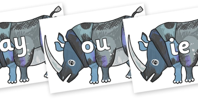 Phase 5 Phonemes on Rhinoceros to Support Teaching on The Bad Tempered Ladybird - Phonemes, phoneme, Phase 5, Phase five, Foundation, Literacy, Letters and Sounds, DfES, display