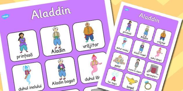 Aladdin Plansa cu imagini si vocabular din poveste, Romanian