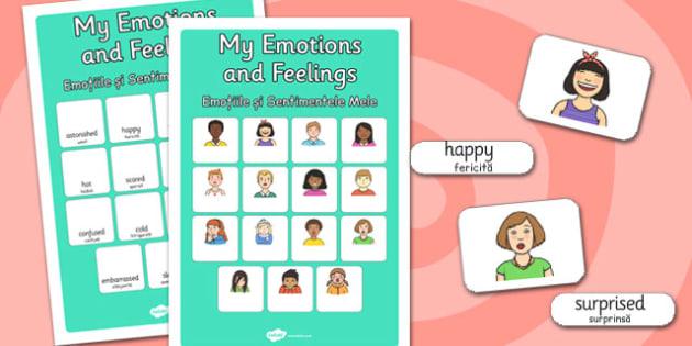 My Emotions and Feelings Vocabulary Matching Mat Romanian Translation - romanian