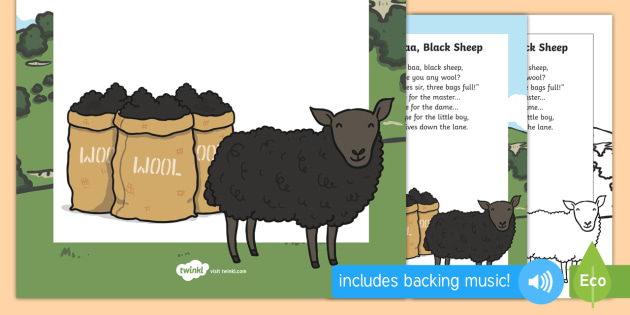 Baa, Baa, Black Sheep Nursery Rhyme Poster - rhymes, display, poem