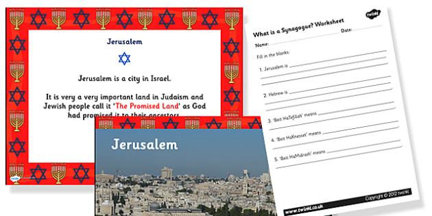 Judaism What is a Synagogue Information Powerpoint and Worksheet Pack - judaism, judaism powerpoint, judaism task setter, judaism worksheets, slideshow, RE, judiasm