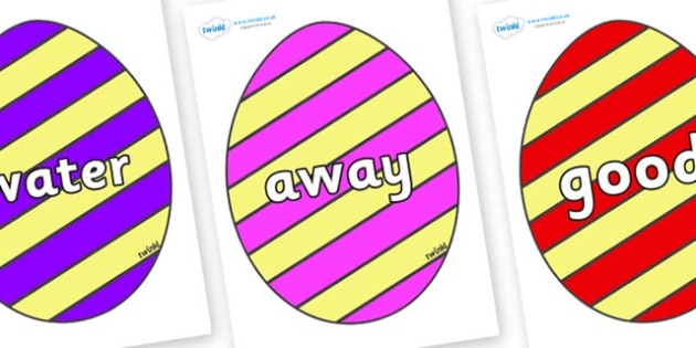 Next 200 Common Words on Easter Eggs (Stripes) - Next 200 Common Words on  - DfES Letters and Sounds, Letters and Sounds, Letters and sounds words, Common words, 200 common words