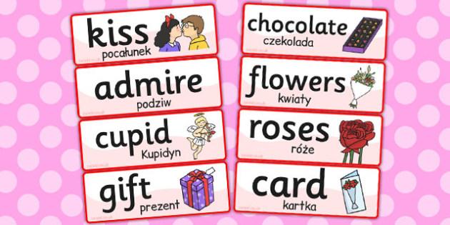 Valentines Day Topic Word Cards Polish Translation - polish