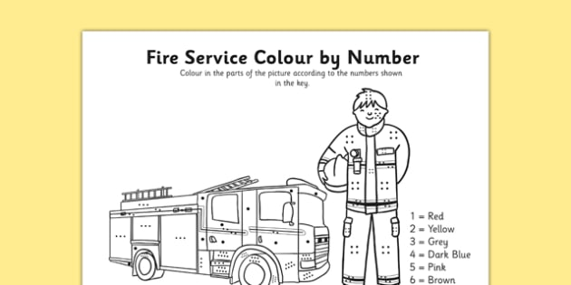 Fire Service Colour By Number Dots - colour, number dots, number, dots, fire service