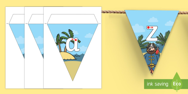 Pirate Themed A-Z Letter Formation Bunting - pirate, alphabet, a-z, letter formation, bunting, display bunting, display