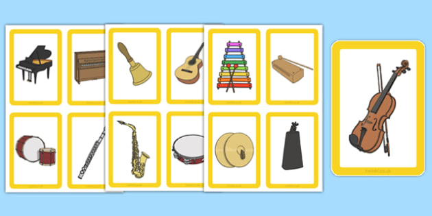 Musical Instrument Matching Cards (Image Only) - Music, instrument, action, word card, flashcard, word cards, playing instruments, piano, drums, guitar, recorder, violin, triangle, cymbals, notes, music