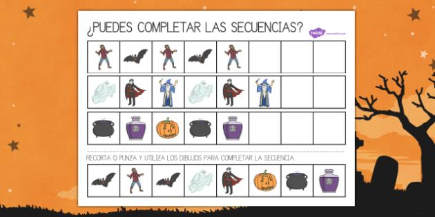 Fichas para completar la secuencia de Halloween
