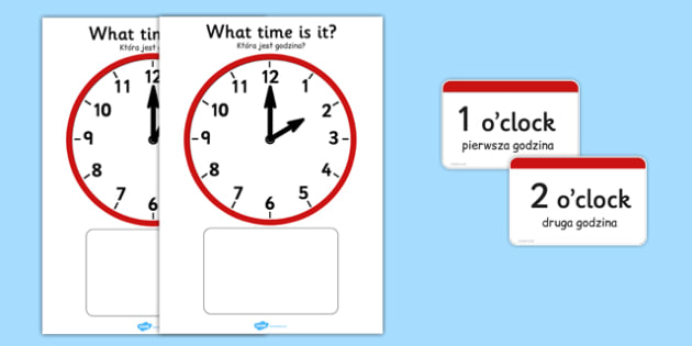 Analogue Clocks Hourly (Matching) Polish Translation - polish, Clock time matching game, Time, Time resource, Time vocabulary, clock face, O'clock, half past, quarter past, quarter to, shapes spaces measures, clock game, time game, foundation stage,