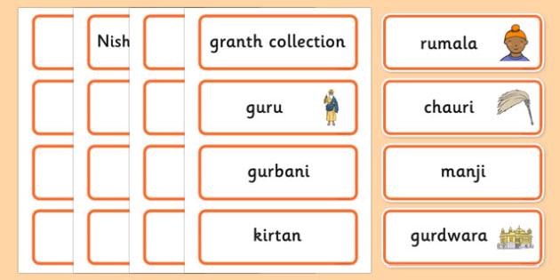 Sikhism Word Cards - Religion, faith, sikh, word card, flashcards, cards, temple, RE, rumala, manji, gurdwara, guru