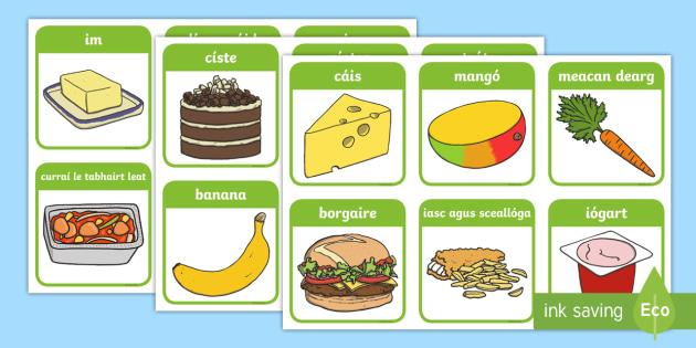 Sláintiúil agus Míshláintiúil cártaí sórtála - Food sorting, sorting cards, healthy food, unhealthy food, cards, games, ag sórtáil bia, cártaí,