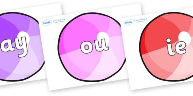 Phase 5 Phonemes on Beachballs - Phonemes, phoneme, Phase 5, Phase five, Foundation, Literacy, Letters and Sounds, DfES, display