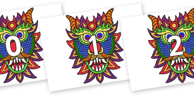 Numbers 0-50 on Chinese New Year Dragon Mask - 0-50, foundation stage numeracy, Number recognition, Number flashcards, counting, number frieze, Display numbers, number posters