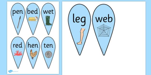 CVC Word Fans (E) - CVC, CVC word, fan, fans, three phoneme words, three sound words, consonant vowel consonant, words, three letter words, letters and sounds, DfES letters and sounds