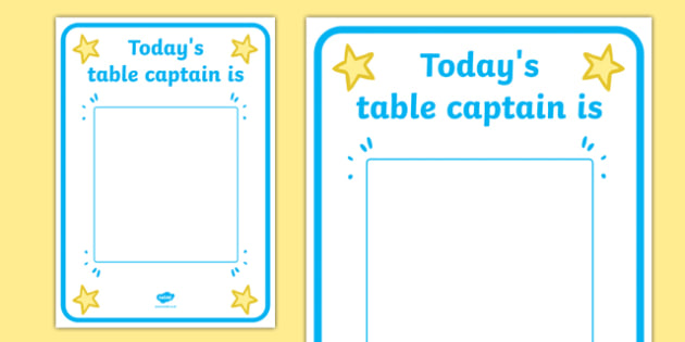 Today's Table Captain Display Poster