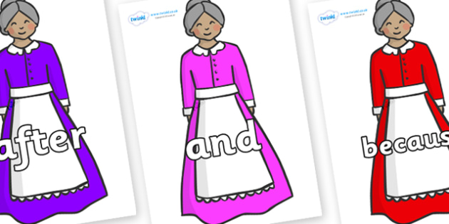 Connectives on Old Mother Hubbard - Connectives, VCOP, connective resources, connectives display words, connective displays