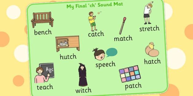 Final Ch Sound Word Mat 2 - final ch, sound, word mat, word, mat