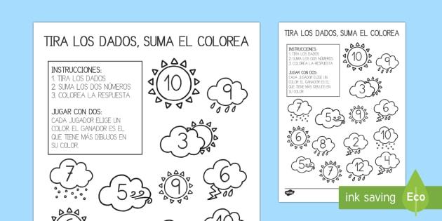 El tiempo Ficha de tirar el dado y colorear - El tiempo y las estaciones del año, proyecto, operaciones, sumar, jugar, dado,Spanish