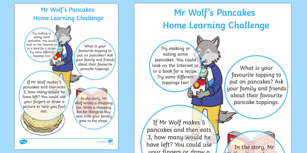 EYFS Home Learning Challenge Sheet Nursery FS1 to Support Teaching on Mr Wolfs Pancakes - EYFS planning, early years activities, homework, Pancake Day, Shrove Tuesday, Mr Wolf's Pancakes, Jan Fearnley
