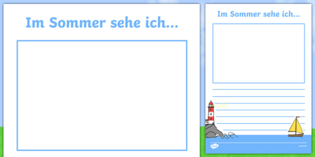 In the Summer I See German Writing Activity Sheet, worksheet
