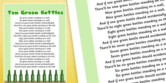 Ten Green Bottles Nursery Rhyme Poster - rhymes, poems, display