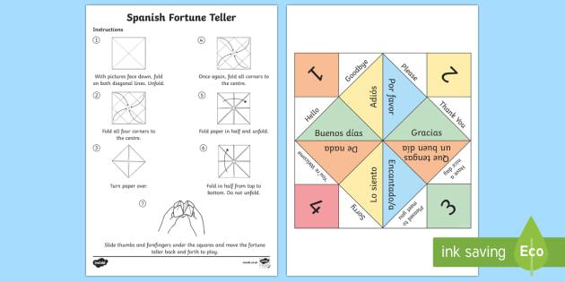 Greetings Fortune Teller Activity Spanish  - Spanish,  KS2, greetings, game, fortune, teller, activity