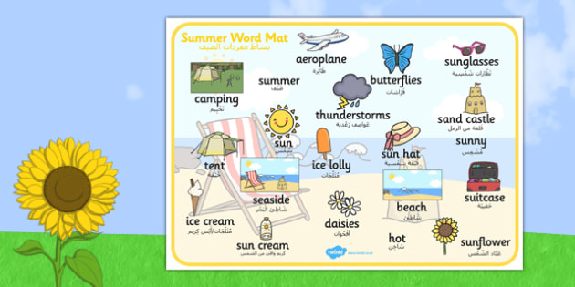 Summer Word Mat Images Arabic Translation - bilingual, beach, sun, language